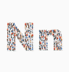 Large group people in letter n form vector