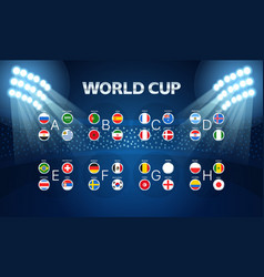Light stadium mast world cup groups layout vector