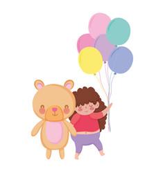 Little chubby girl with balloons air and bear vector