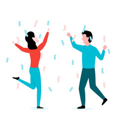 man and woman celebrate and dance together vector image