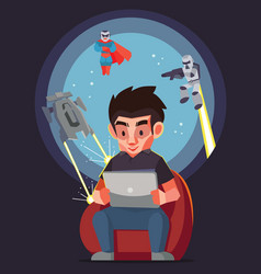 Man play the game with tablet and his imagine vector