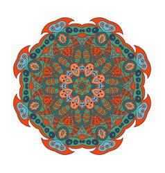 Mandala doodle drawing colorful floral ornament vector