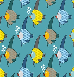 Marine fish color seamless pattern Repeating vector
