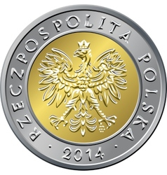 obverse Polish Money five zloty coin vector image