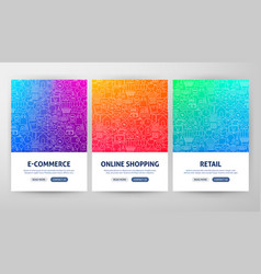online shopping flyer concepts vector image