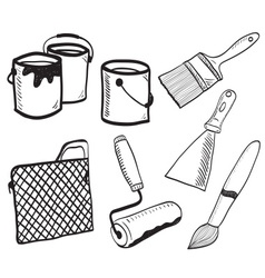 Painting accessories hand-drawn vector image vector image