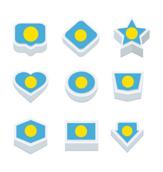 palau flags icons and button set nine styles vector image