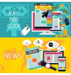 Pay per click and journalism news banners vector