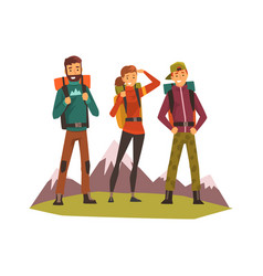 People travelling together tourists hiking vector