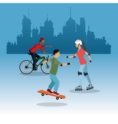 Person on bike roller skating city background vector