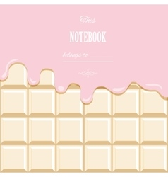Pink cream melted on white chocolate bar vector image