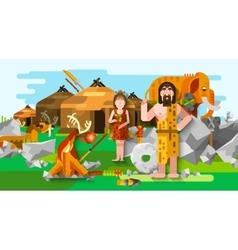 Prehistoric Stone Age Caveman Composition vector image