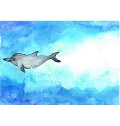 Printswimming dolphin on sea watercolor vector