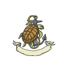 Ridley Sea Turtle on Anchor Drawing vector image