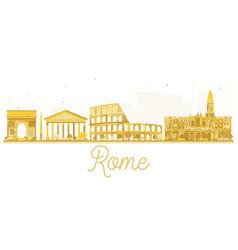 Rome city skyline golden silhouette vector