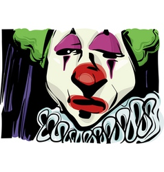 Sad clown drawing vector