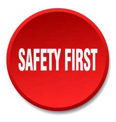 Safety first red round flat isolated push button vector
