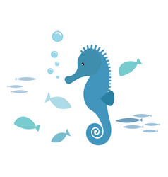 Seahorse and fishes vector