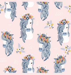 seamless childish pattern with adorable horses vector image