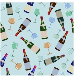 seamless pattern bottles of wine and glasses vector image