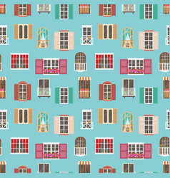seamless pattern with various type house window vector image