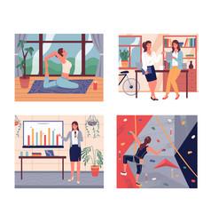 set confident women girls do yoga climbing vector image
