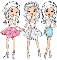 set fashion cute happy girls vector image