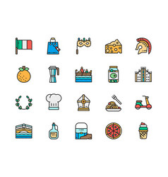 set italian culture flat color line icons vector image