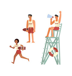 set male and female lifeguards vector image