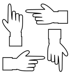 set of black outline contour silhouette of hand vector image