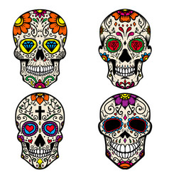 set of colorful sugar skull isolated on white vector image