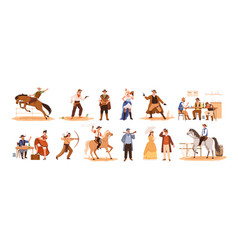 set wild west cartoon characters flat vector image