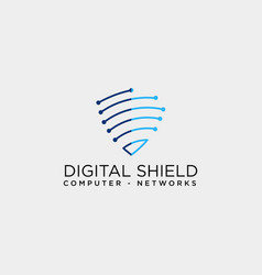shield protection network logo template icon vector image