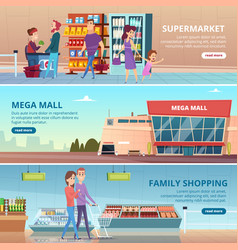 shopping banners people in grocery food market vector image