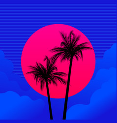 silhouettes palm trees on a background red vector image