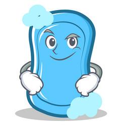 Smirking blue soap character cartoon vector