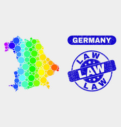 Spectrum mosaic germany map and scratched law vector