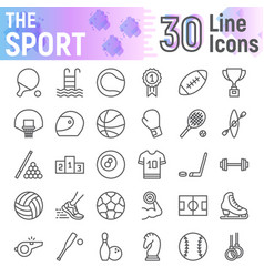 Sport line icon set fitness symbols collection vector
