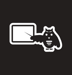 Style black and white icon owl teacher vector