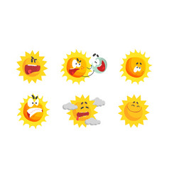 Sun with sunbeams having smiling and angry vector