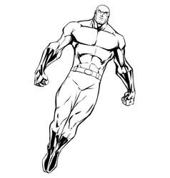 Superhero flying 7 line art vector