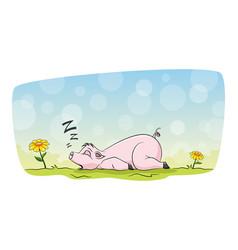 Sweet pig is sleeping on a meadow vector