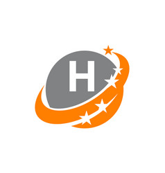 Swoosh star solution letter h vector