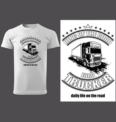 T-shirt print design with truck vector