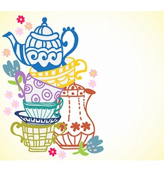 Tea cup background with teapot vector