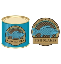 Tin of fish with label vector