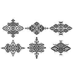 Tribal black element patterns on white background vector image