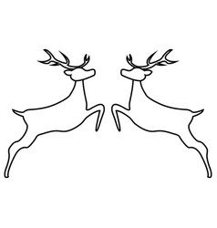 Two reindeer jumping together on a white vector