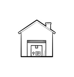Warehouse hand drawn outline doodle icon vector