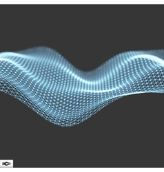Wave with Connected Lines and Dots Glowing Grid vector